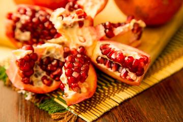 Opened fresh ripe pomegranate