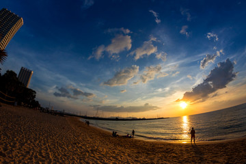 Tropical beach at sunset, Pattaya Beach, Thailand, fisheye view