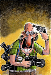 Conceptual cartoon of a paparazzi