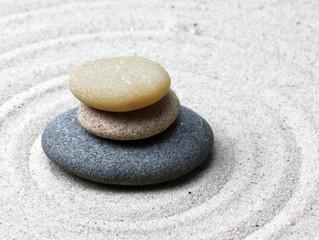 Japanese zen garden meditation stone