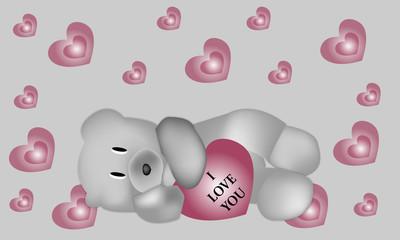 Osito I love you y corazones con fondo gris.
