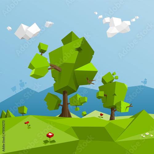 Low poly landscape - 78063273