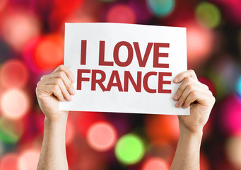 I Love France card with colorful background