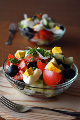 Fresh spring mixed vegetable salad with eggs