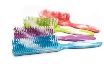 colorful hairbrush isolated