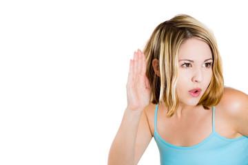 Headshot curious woman listening secretly to conversation