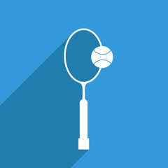 Flat Icon of tennis racket with a ball