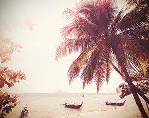 Vintage stylized photo of a beach, nature background.