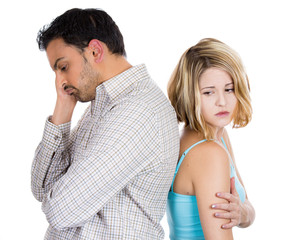 Unhappy stressed young couple having an argument