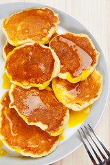 breakfast with ricotta pancake served with hot orange custard, c
