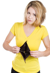 Closeup unhappy woman showing empty wallet