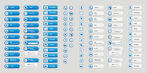 Blue and white big buttons pack