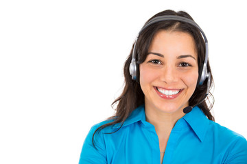 Headshot female customer representative with phone headset