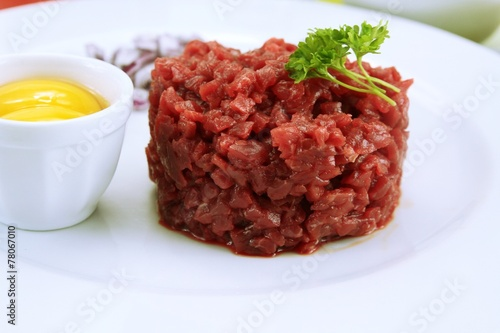 Fotobehang Restaurant tartare de boeuf