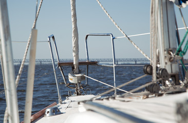 View on deck of sailing yacht