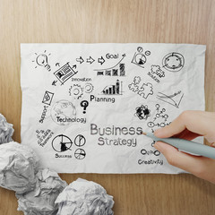 hand drawing creative business strategy on crumpled paper with w