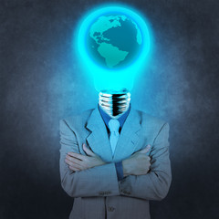 businessman with lamp-head and world inside concept on texture b