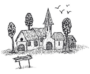 Hand drawn country village