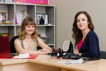 Beauty consultant at the client in office