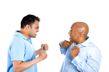 Two angry fighting men screaming at each other