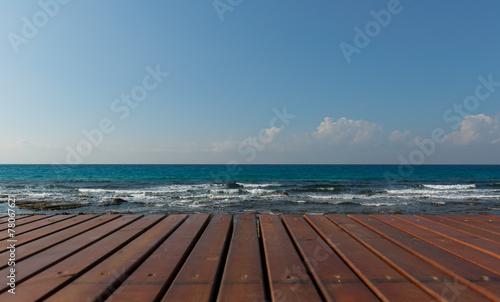 wooden platform overlooking the sea