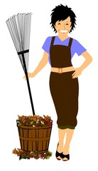 lady raking leaves