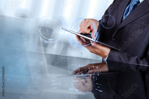 Double exposure of businessman shows modern technology as concep - 78068284
