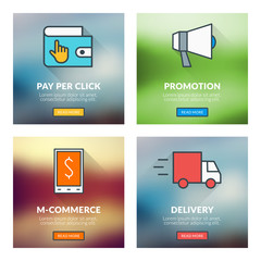 Pay per click, promotion, m-commerce, delivery