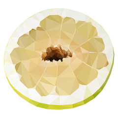 Vector low poly half of pomelo