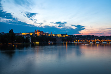 General night view of Charles Bridge and Castle District in Prag