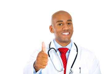 Smiling physician posing with lab coat and stethoscope