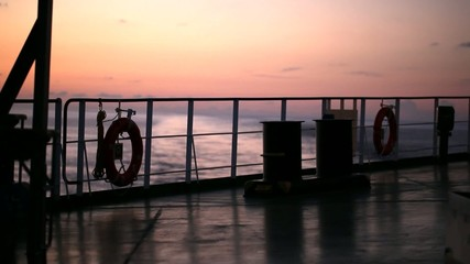 Sunset on the ship
