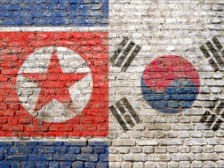 North and South Korean flag painted on wall