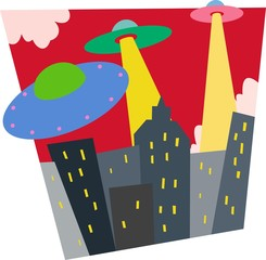Saucers attack city