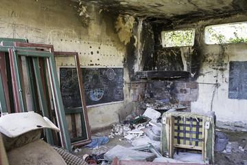 Interior ruin house