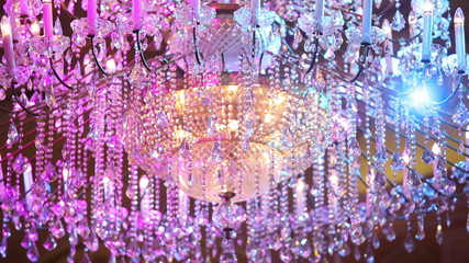 Big crystal chandelier and color light