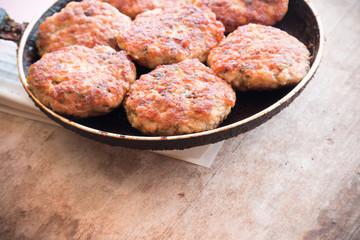 Juicy fried meat cutlets.