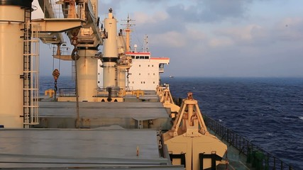 Bulk carrier ship on the ways at sea