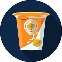Vector Fruit Yogurt in Plastic Box Flat Illustration
