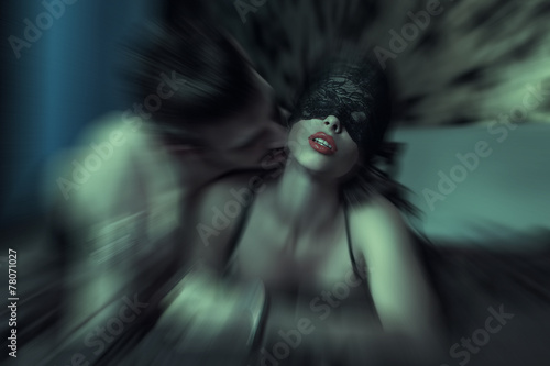 canvas print picture Sexy woman at night getting orgasm