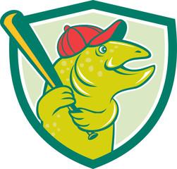 Trout Fish Baseball Batting Shield Cartoon