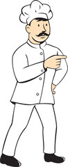 Chef Cook Mustache Standing Pointing Cartoon