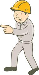 Builder Construction Worker Pointing Cartoon