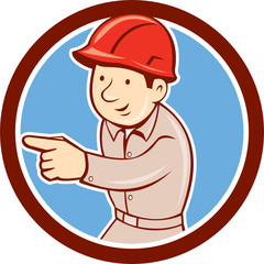 Builder Construction Worker Pointing Circle Cartoon
