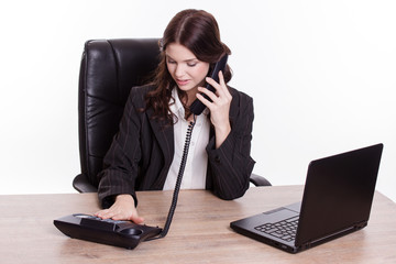 Elegant business woman call someone by phone
