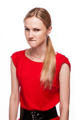 Young woman with anger face