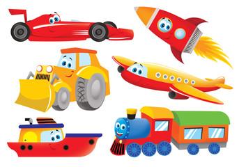 plane, bulldozer, train, rocket, ship, racer for kids