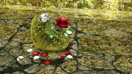 Heart Shaped Rock with Red and White Roses