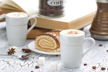 Cup of Cappuccino and cake