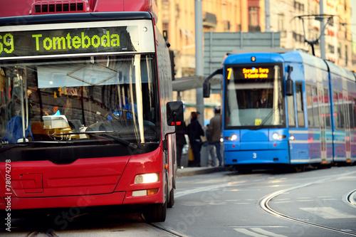 Leinwanddruck Bild Bus and tram in traffic